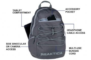 PRAKTICA Travel Backpack for Binoculars, Cameras and Tablet
